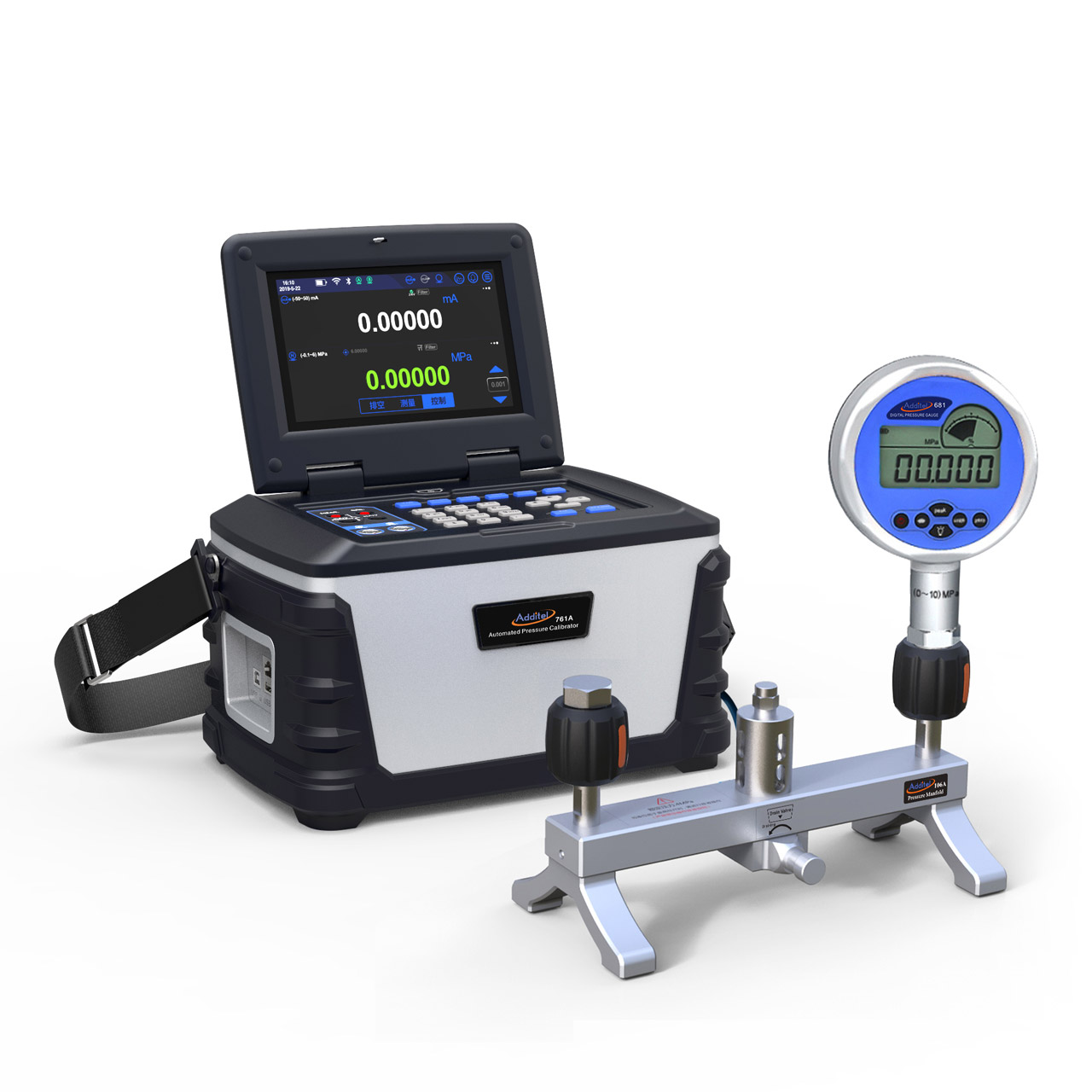 Kalibrátor ADT761A s pripojeným kalibrovaným digitálnym tlakomerom