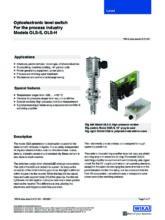 Katalogový list - Optický hladinový spínač, modely OLS-S, OLS-H a OSA-S - Optický hladinový spínač OLS